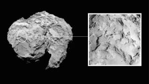 Landung auf den Kopf des Kometen Landeplatz J befindet sich auf dem Kopf des Kometen. Das Bild wurde mit der OSIRIS-Kamera am 16. August 2014 aus einer Entfernung von etwa 100 Kilometern aufgenommen.  Quelle: ESA / Rosetta / MPS für OSIRIS-Team MPS / UPD / LAM / IAA / SSO / INTA / UPM / DASP / IDA