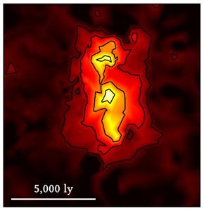 Abb. 3 Diese Karte zeigt die rekonstruierte Sternentstehungsrate der weit entfernten Galaxie, die eine ziemlich geringe Ausdehnung besitzt (wie durch die Längenskala in Lichtjahren angedeutet). Die Farben zeigen Staub, der durch die Strahlung junger Sterne aufgeheizt wird. Foto: Max-Planck-Institut für Astrophysik